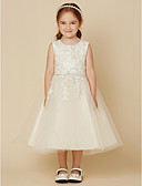 זול שמלות לילדות פרחים-גזרת A באורך  הברך שמלה לנערת הפרחים - תחרה / טול ללא שרוולים עם תכשיטים עם חרוזים / אפליקציות על ידי LAN TING BRIDE®