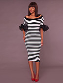 baratos Vestidos de Mulher-Mulheres Moda de Rua Tubinho Vestido - Frufru, Listrado Médio