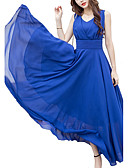 cheap Women's Dresses-Women's Plus Size Holiday Punk & Gothic Swing Dress - Solid Colored Blue High Rise V Neck