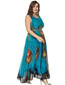ieftine Rochii de Damă-Pentru femei Mărime Plus Size Pantaloni - Floral Albastru piscină / Maxi / Concediu