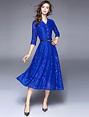 tanie Odzież arabska-Damskie Wyjściowe Moda miejska / Wyrafinowany styl Linia A / Swing Sukienka - Solidne kolory, Koronka W serek Midi