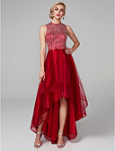 cheap Cocktail Dresses-A-Line Jewel Neck Asymmetrical Satin / Tulle Sparkle & Shine / High Low / Keyhole Cocktail Party / Prom Dress with Sequin / Bow(s) by TS Couture®