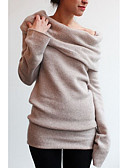 cheap Women's Sweaters-Women's Daily Street chic Solid Colored Long Sleeve Loose Regular Pullover, Off Shoulder Spring Khaki / Light gray XL / XXL / XXXL