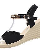 זול טרנינגים וקפוצ'ונים לגברים-בגדי ריקוד נשים נעליים PU קיץ נוחות סנדלים עקב טריז בוהן עגולה ריינסטון שחור / ירוק / בורדו / נעלי עקב