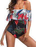 cheap Women's Swimwear & Bikinis-Women's Off Shoulder Boho Strapless / Off Shoulder Black High Waist One-piece Swimwear - Plants Tropical Leaf Ruffle / Print M L XL / Sexy