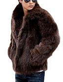 olcso Férfi dzsekik és kabátok-Napi Hétvége Κλασσική V-alakú Férfi Szokványos Szőrmekabát Tömör szín Tél Műszőrme