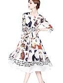 זול שמלות נשים-מותניים גבוהים מידי חיה - שמלה סווינג בסיסי / סגנון רחוב ליציאה בגדי ריקוד נשים
