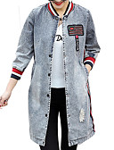 cheap Women's Denim Jackets-Women's Denim Jacket - Color Block, Print