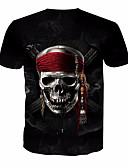 baratos Camisetas & Regatas Masculinas-Homens Camiseta Básico Estampado, Caveiras Decote Redondo / Manga Curta
