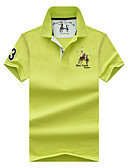 tanie Męskie koszule-Puszysta Polo Męskie Podstawowy / Moda miejska, Haft Bawełna Sport Kołnierzyk koszuli Solidne kolory / Krótki rękaw