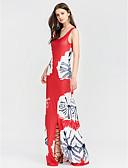 levne Dámské šaty-Dámské Bavlna Bodycon Pouzdro Šaty - Jednobarevné Květinový Maxi Hluboké U High Rise