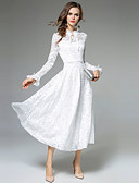 tanie Odzież arabska-Damskie Wyjściowe Moda miejska / Wyrafinowany styl Flare rękawem Linia A / Swing Sukienka - Solidne kolory, Koronka Kołnierz stawiany Wysoka talia Midi