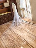 رخيصةأون ملابس ليلية نسائية-One-tier Cut Edge / زفافي الحجاب الزفاف Chapel Veils / Cathedral Veils مع Scattered Bead Floral Motif Style دانتيل / تول / Oval