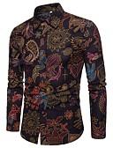 povoljno Muške majice i potkošulje-Majica Muškarci - Kinezerije Boho Klub Izlasci Pamuk Lan Cvjetni print Kineski ovratnik Print