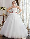 olcso Menyasszonyi ruhák-Báli ruha Pánt nélküli Földig érő Tüll csipkén Made-to-measure esküvői ruhák val vel Csipke által LAN TING BRIDE® / Vintage-inspirált