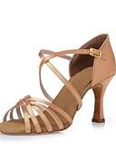 ieftine Maieu & Tricouri Bărbați-Pentru femei Pantofi Dans Latin Mătase Călcâi Legătură Panglică Toc Stilat Personalizabili Pantofi de dans Negru / Maro Închis / Culoarea