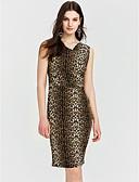 baratos Vestidos de Festa-Mulheres Tamanhos Grandes Activo Delgado Bainha Vestido Leopardo Decote V Altura dos Joelhos