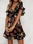 hesapli Print Dresses-Kadın's Parti Basit Temel Pamuklu İnce A Şekilli Elbise - Çiçekli, Bağcık Derin V Diz üstü