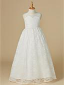 Χαμηλού Κόστους Λουλουδάτα φορέματα για κορίτσια-Πριγκίπισσα Μακρύ Φόρεμα για Κοριτσάκι Λουλουδιών - Δαντέλα / Τούλι Αμάνικο Scoop Neck με Δαντέλα με LAN TING BRIDE®