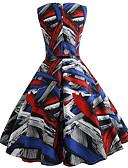 povoljno Ženske haljine-Žene Vintage Korice Haljina Prugasti uzorak Do koljena