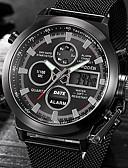 ieftine Pantaloni Bărbați si Pantaloni Scurți-Bărbați Ceas Elegant Quartz 30 m Alarmă Calendar Se răcește cuvânt / expresie Oțel inoxidabil Bandă Analog - Digital Lux Negru / Argint - Negru Argintiu / negru Un an Durată de Viaţă Baterie