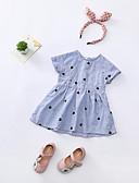 tanie Sukienki dla dziewczynek-Brzdąc Dla dziewczynek Prążki / Geometryczny Nadruk Krótki rękaw Przed kolano Sukienka / Urocza