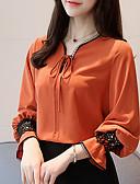baratos Relógios da Moda-Mulheres Blusa Básico Renda Patchwork, Sólido