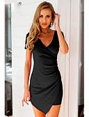 baratos Vestidos de Mulher-Mulheres Feriado Skinny Tubinho Vestido Sólido Decote V Acima do Joelho / Assimétrico Preto / Sexy