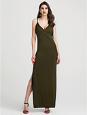 baratos Vestidos de Mulher-Mulheres Algodão Solto Vestido Sólido Decote V Cintura Alta Longo
