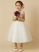 cheap Flower Girl Dresses-Princess Knee Length Flower Girl Dress - Lace / Tulle Sleeveless Jewel Neck with Bow(s) / Sash / Ribbon by LAN TING BRIDE®