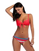 cheap Women's Swimwear & Bikinis-Women's Boho Strap Off Shoulder Plunging Neckline Bikini - Floral Geometric Color Block Backless Print Lace up Thong