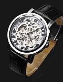 tanie Zegarki mechaniczne-ASJ Męskie Zegarek na nadgarstek / zegarek mechaniczny Chiński Hollow Grawerowanie Skóra Pasmo Luksusowy / Modny Czarny / Nakręcanie automatyczne