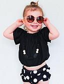 tanie Topy dla dziewczynek-Brzdąc Dla dziewczynek Solidne kolory Krótki rękaw Bawełna T-shirt / Śłodkie