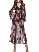 tanie Sukienki maxi-Damskie Moda miejska Bawełna Luźna Spodnie - Kwiaty / Kolorowy blok Nadruk Wysoka talia Czarny / Maxi / W serek / Święto