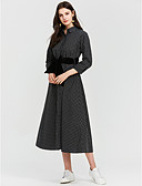 cheap Party Dresses-Women's Daily Maxi Sheath Dress - Solid Colored / Plaid Shirt Collar Winter Gray S M L