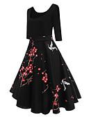 ieftine Rochii de Damă-Pentru femei De Bază Bumbac Zvelt Pantaloni - Floral Talie Înaltă Negru / Ieșire