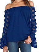 cheap Women's Swimwear & Bikinis-Women's Blouse - Solid Colored Boat Neck / Flare Sleeve