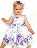 olcso Lány ruhák-Kisgyermek Lány Aktív / Édes Napi / Szabadság Virágos Fodrozott / Nyomtatott Ujjatlan Térd feletti Pamut / Poliészter Ruha Bíbor