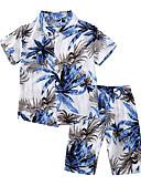 hesapli Erkek Çocuk Kıyafet Setleri-Çocuklar Toddler Genç Erkek Temel Günlük Tropikal yaprak Desen Desen Kısa Kollu Normal Pamuklu Kıyafet Seti Havuz
