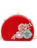 ieftine Lenjerie la Modă-Pentru femei Genți Catifea Geantă Seară Detalii Perlă / Flori Print Floral Negru / Roșu-aprins / Fucsia