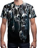 ieftine Tricou Bărbați-Bărbați Rotund Tricou Activ / Șic Stradă - Bloc Culoare / Cranii Imprimeu Alb negru / Manșon scurt