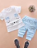 זול סטים של ביגוד לבנים-סט של בגדים כותנה שרוולים קצרים דפוס דפוס חתול בית הספר פעיל / בסיסי בנים פעוטות