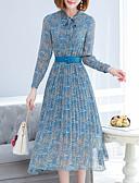 povoljno Ženske haljine-Žene Osnovni Slim Šifon Haljina - Drapirano / Print, Cvjetni print V izrez Midi