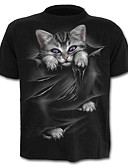 cheap Men's Shirts-Men's Cotton T-shirt - Graphic / Animal Print Black XXL