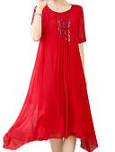tanie Suknie i sukienki damskie-Damskie Boho / Wyrafinowany styl Luźna Spodnie - Kwiaty Nadruk Czerwony / Plaża