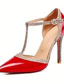 זול חליפות-בגדי ריקוד נשים נעליים PU אביב קיץ בלרינה בייסיק עקבים עקב סטילטו בוהן מחודדת אבזם כסף / אדום / עירום