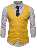 cheap Men's Blazers & Suits-Men's Daily / Work Business / Basic Summer Plus Size Regular Vest, Solid Colored V Neck Sleeveless Cotton White / Black / Yellow XXL / XXXL / XXXXL / Business Casual / Slim