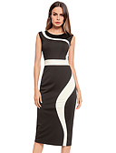 رخيصةأون فساتين نسائية-أسود و أبيض طول الركبة مطوي, سادة - فستان ضيق كم منفوخ قياس كبير أساسي للمرأة