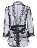 رخيصةأون القمصان وملابس النوم-نسائي مثير لانجري دانتيل / uniform / بدلات ملابس نوم طباعة, مطرز أبيض أسود XL XXL XXXL / V رقبة