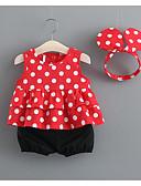זול סטים של ביגוד לתינוקות-סט של בגדים כותנה ללא שרוולים דפוס מנוקד חגים יום יומי בנות תִינוֹק / פעוטות